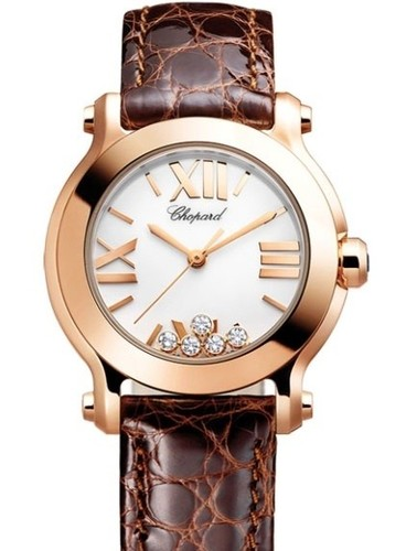 Chopard Happy Sport Round 5 Diamonds (RG / White / Diamonds / Leather) 274189-5010