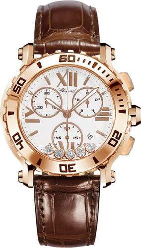 Chopard Happy Sport Round 5 Diamonds (RG / White / Leather) 283581-5001