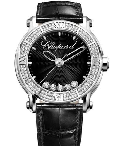 Chopard Happy Sport Round 5 Diamonds (SS-Diamonds / Black-Diamonds / Rubber Strap) 288525-3006