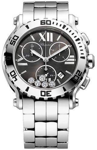 Chopard Happy Sport Round 5 Diamonds (SS / Gray / Leather) 288499-3008