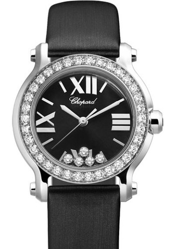 Chopard Happy Sport Round 5 Diamonds (WG / Black / Diamonds / Silk Strap) 274189-1003