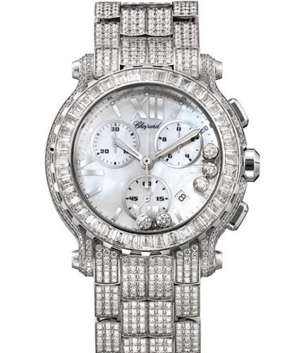 Chopard Happy Sport Round 5 Diamonds (WG / MOP/ Diamonds / Diamond Bracelet) 283582-1004