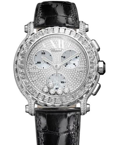Chopard Happy Sport Round 5 Diamonds (WG / MOP/ Diamonds / Leather) 283582-1006