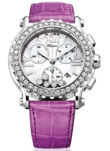 Chopard Happy Sport Round 5 Diamonds (WG / SS / MOP / Leather) 288506-2001