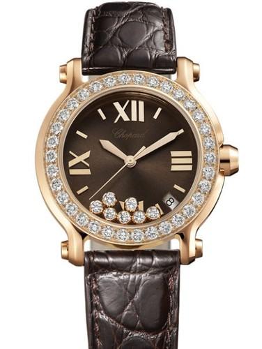 Chopard Happy Sport Round 7 Diamonds (RG / Chocolate / Diamonds / Leather) 277473-5008
