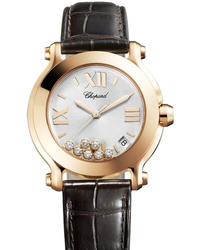 Chopard Happy Sport Round 7 Diamonds (RG / White / Diamonds / Leather) 277471-5013