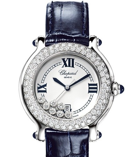 Chopard Happy Sport Round 7 Diamonds (SS-WG-Diamonds / White / Leather Strap) 278299-2003