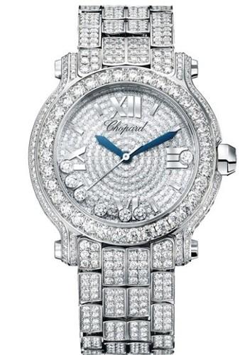 Chopard Happy Sport Round 7 Diamonds (WG / White / Diamonds / Diamond Bracelet) 277474-1001