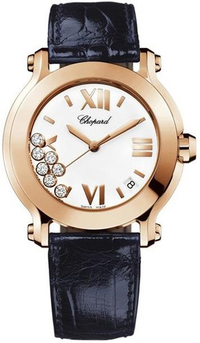 Chopard Happy Sport Round Edition 2 (RG / Silver / Leather) 277471-5001