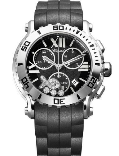 Chopard Happy Sport Round Fish Diamonds (SS / Black / Diamonds / Rubber) 288499-3016