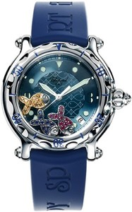 Chopard Happy Sport Round Fish (SS / Blue / Rubber) 288347-3012