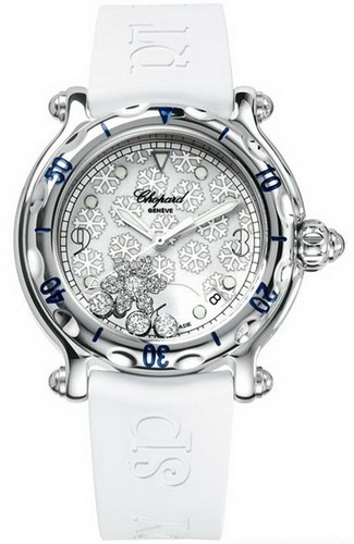 Chopard Happy Sport Round Snowflakes (SS / Silver / Rubber) 288948-3001