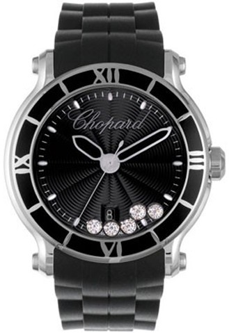Chopard Happy Sport Round (SS / Black-Diamonds / Rubber Strap) 288525-3005