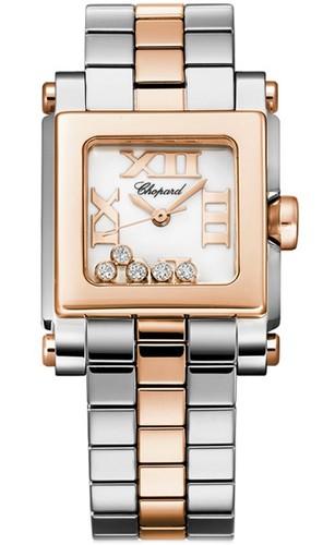 Chopard Happy Sport Square 5 Diamonds (RG / SS / White / Diamonds / Bracelet) 278516-6002