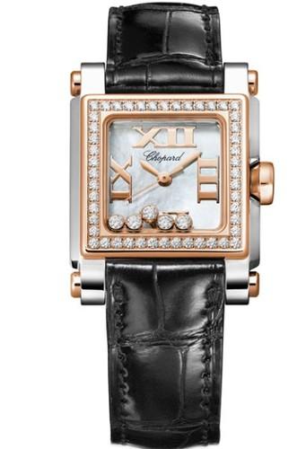 Chopard Happy Sport Square 5 Diamonds (RG / SS / White / Diamonds / Leather) 278516-6003