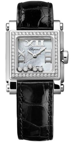 Chopard Happy Sport Square 5 Diamonds (WG- SS / MOP / Leather) 278516-3003
