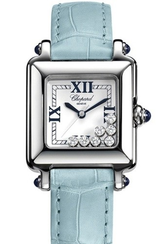 Chopard Happy Sport Square 7 Diamonds (SS / Silver / Leather) 278325-3006