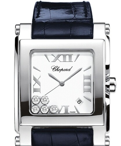 Chopard Happy Sport Square XL (SS / Silver / Leather) 288447-3001