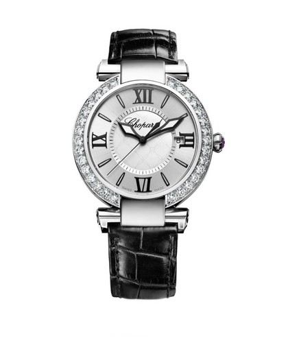 Chopard Imperiale Automatic (SS-Diamonds / Silver / Leather Strap) 388531-3002