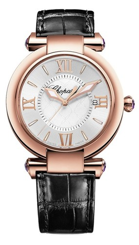 Chopard Imperiale Ladies (RG / Silver / Leather Strap) 384221-5001