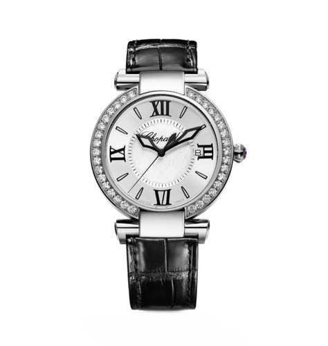 Chopard Imperiale Ladies (SS-Diamonds / Silver / Leather Strap) 388532-3003