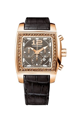 Chopard Two 0 Ten Large Chronograph (RG / Brown / Diamonds / Leather) 172287-5004