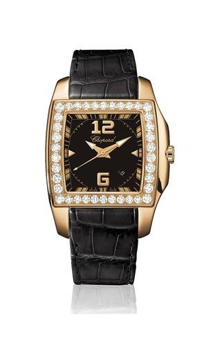 Chopard Two O Ten Lady (RG-Diamonds / Black / Leather) 137468-5001