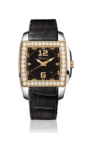Chopard Two O Ten Lady (SS-RG-Diamonds / Black / Leather) 138473-9001
