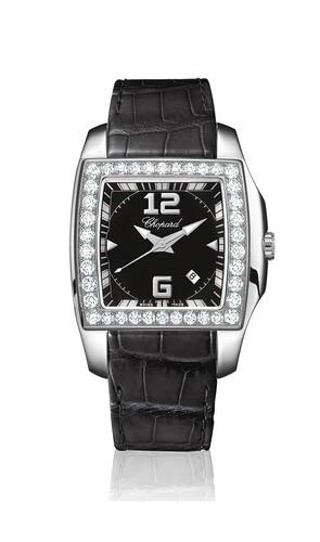 Chopard Two O Ten Lady (SS-WG-Diamonds / Black / Leather) 138464-2001