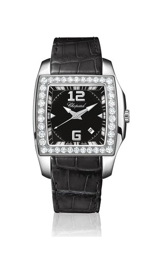 Chopard Two O Ten Lady (SS-WG-Diamonds / Black / Leather) 138464-2001