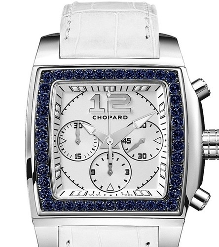 Chopard Two O Ten Sport (WG-Sapphires / Silver / Leather) 172287-1002