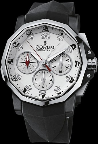 Corum Admirals Cup Black Split Seconds 44 (SS / White / Strap)