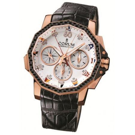Corum Admirals Cup Challenge 44 Split Seconds (RG-Carbon / White/ Leather)
