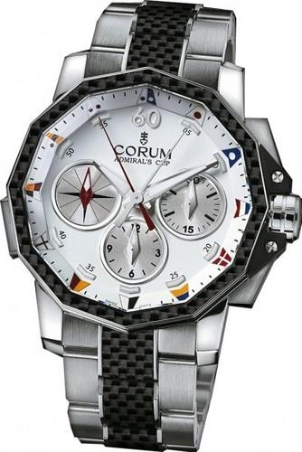 Corum Admirals Cup Challenge 44 Split Seconds (SS-Carbon / White / Bracelet)