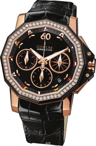 Corum Admirals Cup Chronograph 40 Diamonds (PG / Black / Diamonds)