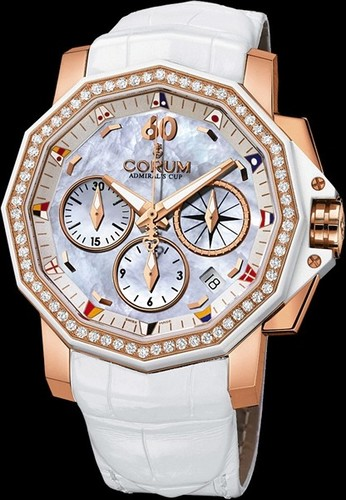 Corum Admirals Cup Chronograph 40 Diamonds (RG-Diamonds / White MOP / Leather)