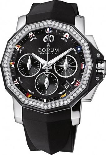 Corum Admirals Cup Chronograph 40 Diamonds (SS-Diamonds / Black / Rubber)