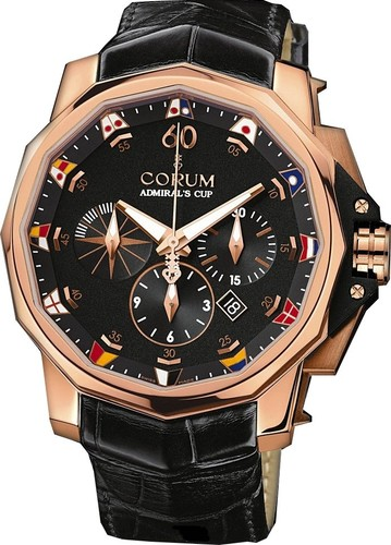 Corum Admirals Cup Chronograph 48 (RG / Black / Leather)