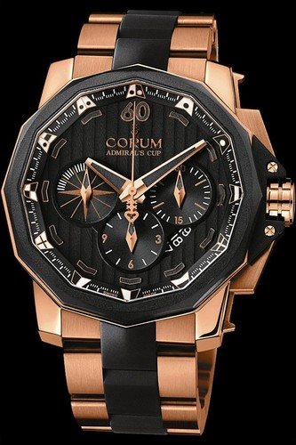 Corum Admirals Cup Chronograph 48 (RG / Black / RG-Rubber Bracelet)