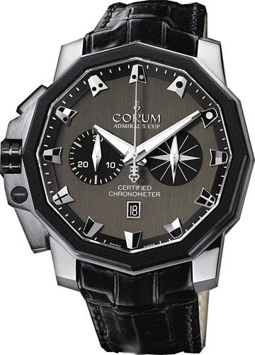 Corum Admiral's Cup Chronograph 50 LHS (Platinum / Black / Leather)