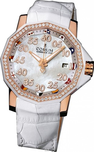 Corum Admiral's Cup Competition 40 (RG-Diamonds /White MOP /Leather)