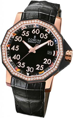 Corum Admirals Cup Competition 40 (RG / Diamonds / Black / Leather)