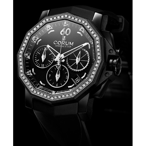 Corum Admirals Cup Competition 40 with Diamonds (SS / Black / Strap)