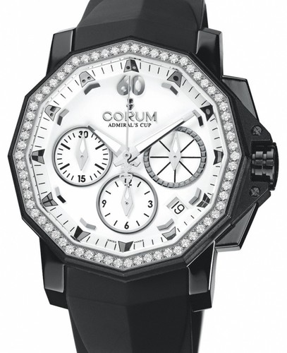 Corum Admirals Cup Competition 40 with Diamonds (SS / White / Strap)