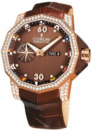 Corum Admirals Cup Competition 48 (RG-Diamonds / Brown / Leather)