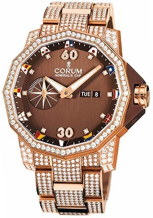 Corum Admirals Cup Competition 48 (RG-Diamonds / Brown / RG-Diamond Bracelet)
