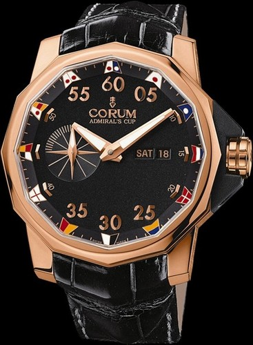 Corum Admirals Cup Competition 48 (RG / Black / Leather)
