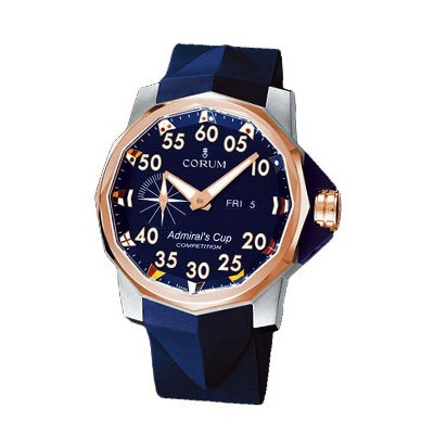 Corum Admirals Cup Competition 48 (Ti-RG / Blue Arabic / Strap)