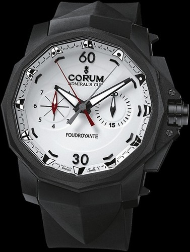 Corum Admirals Cup Foudroyante (SS / Black / Strap)