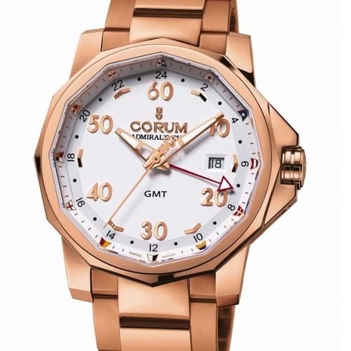 Corum Admirals Cup GMT 44 (RG / White / Bracelet)